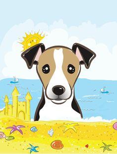 Jack Russell Terrier Summer Beach Flag Canvas House Size BB2129CHF