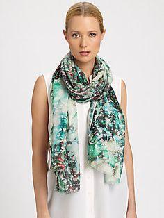 Bindya Floral Canvas Pixellated Print Silk & Cashmere Scarf