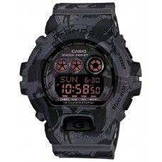 Мужские спортивные японские наручные часы Casio G-Shock GD-X6900MC-1 камуфляжного черного цвета.