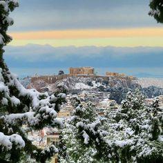 Breathtaking beauty in snowy Greece today! Photo by @miltoskamb #greece #hellas #athens #parthenon #acropolis #greek #greeks #greeklife #greekgirl #visitgreece #ilovegreece