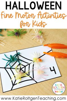 These low-prep Halloween themed fine motor activities are such a fun way practice fine motor skills in your pre-k classroom. Perfect for morning work, centers, or small groups, you preschool students will love getting to practice math, literacy, fine motor development, and social skills while creating spiders, pumpkin faces, and candy corn. These Halloween fine motor activities also help to develop important pre-writing skills.