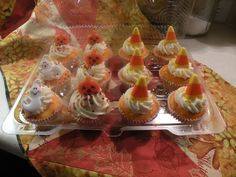 Pumpkin and Candy Corn cupcakes from The  Quilter Cook  www.TheDanglingThread.blogspot.com