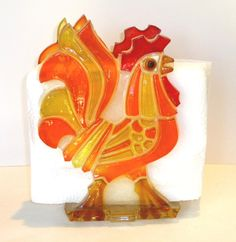 SOLD**************************************1960s or 1970s Groovy Rooster Napkin Holder by Crybabe on Etsy, 14.00