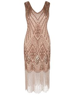 PrettyGuide Women Gatsby Cocktail Sequin Art Deco Flapper Dress - Gold Beige X-Large Plus Size Maxi Dresses, Short Sleeve Dresses, Long Sleeve, Cap Dress, Dress Up, 20s Mode, Style Année 20, Vestidos Flapper, Flapper Dresses