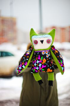 Greenhead owl, soft art toy by Wassupbrothers..