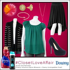This Exotic Enchantress look was inspired by Downy Infusions Spice Blossoms and Downy Unstopables Fresh. This beautiful blouse will make others green with envy over your seamless style. To shop this look, visit the LC Lauren Conrad collection available only at Kohl's. To register for the #ClosetLoveAffair sweepstakes visit https://downy.promo.eprize.com/pinterest/.