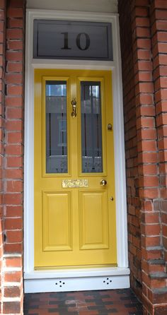 We love the look of a colorful front door to welcome guests into our home. Perhaps our front door is like our home's jewelry adding a little sparkle to the curb appeal. Painting your front door is one of… Continue Reading → Victorian Front Doors, Wooden Front Doors, Front Door Entrance, Painted Front Doors, The Doors, Entry Doors, Victorian House, Front Door Numbers, External Wooden Doors