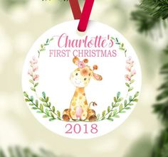 Giraffe Baby Girl Christmas Ornament Personalized Animals Baby's First Christmas Baby Shower Gift New Baby Holiday Ornament 113