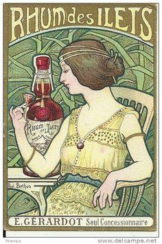 ¤ 1899 Calendrier publicitaire illustré par Paul Berthon Publicité Rhum des Ilets maison E. Gérardot