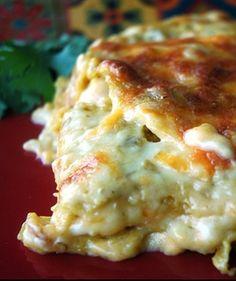 Creamy chicken enchiladas made into a Mexican lasagna.