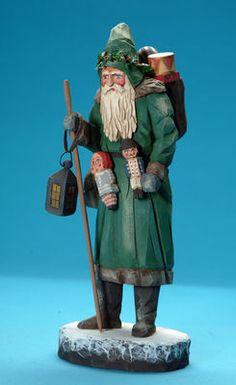 Folk art wood carvings from The Whimsical Whittler :: Yuletide Santa :: Christmas and Santas