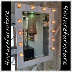 12 bulb mirror with wood frame. White lacquer and dimmer for Led, Cfl,  and incandescent bulbs brand new.. available  at #starsantiquemarket  dor $290 Space 4