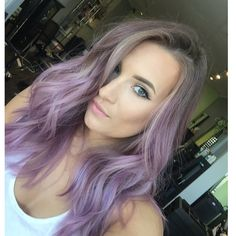 Lavender purple ombre  Think I'm actually repinning this because she has my nose...? But the colour is pretty too!
