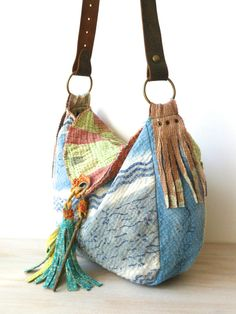 kantha bag reversible fuzzy kantha hobo by fairlyworn on Etsy