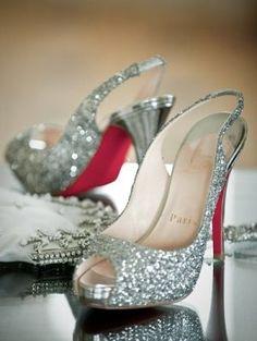 Christian Louboutin Sparkling Silver Glitter Sling-back Heels