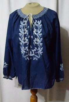 Vintage 70s Ethnic Peasant Puff Slv Smocking Boho Embroidery Blouse Top Fall B42 $9.99