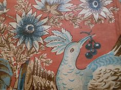Antique Vintage Bird Fruit Polished Cotton Chintz Fabric ~Apricot Blue Brown
