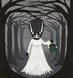 Bride of Frankencat Halloween Cat Original Folk Art Painting by KilkennycatArt, $65.00