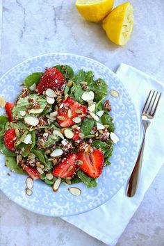 Stew or a Story: Spinach Strawberry Salad wtih Coconut Quinoa and Honey Lemon Dressing