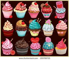 Find Vintage Cupcake Poster Set Design stock images in HD and millions of other royalty-free stock photos, illustrations and vectors in the Shutterstock collection. Cupcake Illustration, Cupcake Kunst, Cupcake Art, Cupcake Cakes, Cupcake Vintage, Cupcake Vector, Cute Food Drawings, Kawaii Drawings, Design Set
