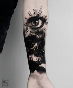 Blackwork Tattoo by olcur_tattoo Wolf Tattoos, Hand Tattoos, Girl Tattoos, Rose Tattoos For Men, Tattoos For Guys, French Tattoo, Forest Tattoos, Demon Girl, Cat Tattoo