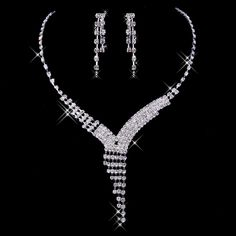 Silver white alloy diamond bridal sets of chain