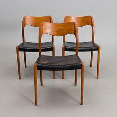 NIELS OLE MØLLER, stolar, 3 st modell 71, J.L. Møllers Møbelfabrik. Modellen formgiven 1951.