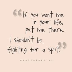 Relationship   I won't fight for a spot