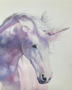 more arts 👉🏼 💓 ⠀⠀⠀⠀⠀⠀⠀⠀ ⠀⠀⠀⠀⠀⠀⠀⠀ artist — Unicorn Painting, Unicorn Drawing, Unicorn Art, Watercolor Paintings Of Animals, Watercolor Horse, Watercolour Painting, Unicorn Illustration, Watercolor Illustration, Watercolor Inspiration