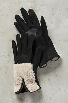 Anthropologie Shearling Trim Gloves