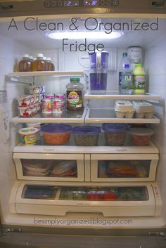 Tips for organizing your fridge.  I like how she does it each week and how she gets produce ready to eat while she organizes.