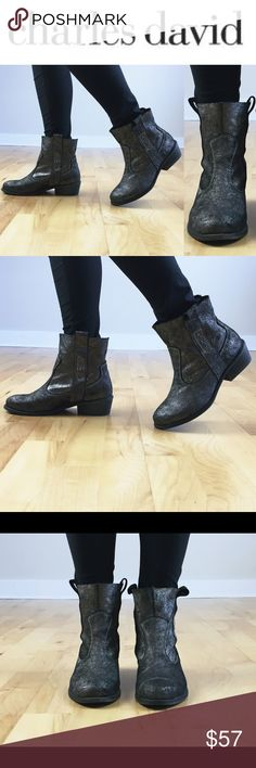 CHARLES DAVID GUNMETAL ANKLE BOOTS 6.5 Divine and sparkly Charles David Gunmetal ankle booties in 6.5. Beautiful, perfect to wear with skinny jeans or leggings! They are brand new, no stains or holes, never worn! Come without a box, so might have some handling signs (couldn't find any). Just gorgeous! Love them? Make an offer! Questions? Ask me! Charles David Shoes Ankle Boots & Booties