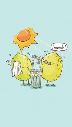 That's why I don't drink lemonade. Cute Puns, Funny Puns, Funny Art, Funny Doodles, Cute Doodles, Fruit Cartoon, Cute Cartoon, Funny Illustration, Cartoon Illustrations