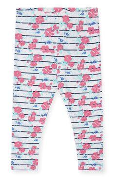 Primark - Legging met strepen en bloemenprint