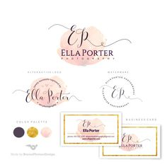Branding Kit, Watercolor logo, Photography Logo Set, Premade logo,Watermark…