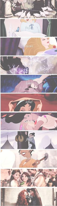 Each Disney princess movie summed up in one word. x