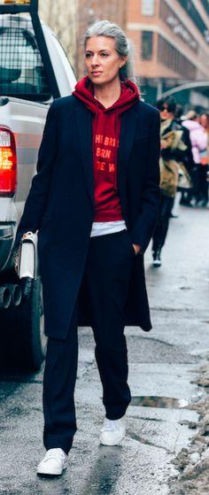 Sarah Harris, British Vogue, Street Style, NYFW, New York Fashion Week, Vetements Hoodie.