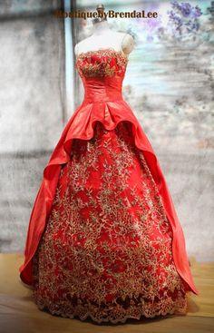 ethnic Ball Gowns | ... cheongsam strapless/big skirt/ruffle/pleated/ball gown/gold glitter