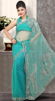 Contemporary Teal Blue Embroidered Saree