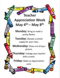 Teacher Appreciation Week May 4-8 | Lawson Early Childhood School Parents As Teachers, Teachers Week, Student Teacher Gifts, Teacher Thank You, Parents Room, Teacher Treats, Teacher Notes, Math Teacher, Christian Teacher Gifts