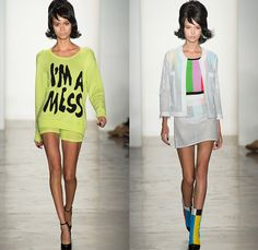 Jeremy Scott 2014 Spring Summer Womens Runway Collection - New York Fashion Week - Teenagers from Mars - TV Color Bar Stripes Tribal Masks C...