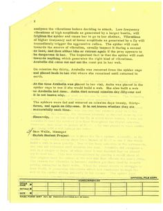 Page two of NASA's response to sixth-grade students who wrote to the NASA Skylab program asking why the spider taken into space for an experiment on web formation in zero gravity was not fed during space flight.     This document was digitized by teachers in our Primarily Teaching 2015 Summer Workshop in Atlanta.