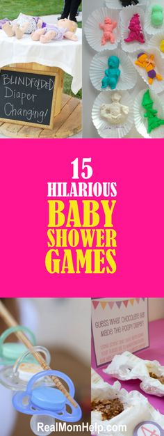 15 Hilarious Baby Shower Games When throwing a baby shower, you have to make sure your guests have fun. Find hilarious ideas and useful tips on how to make baby shower games an absolute hit. Fun Baby Shower Games, Baby Games, Baby Shower Themes, Baby Shower Gifts, Shower Ideas, Bany Shower Games, Comida Para Baby Shower, Juegos Baby, Outside Baby Showers