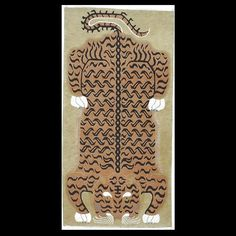 An interesting design because the two figural tigers are facing away from each other. Probably the original design was meant for a saddle rug. Two cinnamon tigers in a bamboo grove, traditional Tibetan border of mountains-and-skulls. This carpet is typically made to be 3' x 6' , but any rug may be had in almost any size. Please contact us directly to discuss custom orders.