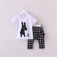 DAMIEN Rabbits T-shirt and Pants Set White