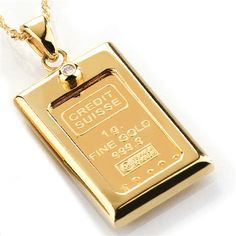 Stauer 1 Gram Gold Ingot Women's Necklace is direct from the Swiss bank with a certificate of authenticity and accented by lab-created DiamondAura. Coin Pendant, Pendant Necklace, 14 Karat Gold, Natural Stones, Gold Jewelry, Bangles, Gems, Pendants, Diamond