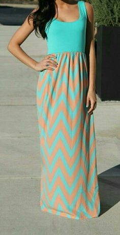 Peach and blue chevron