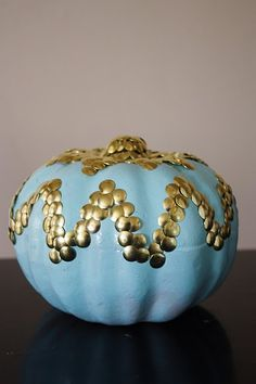 chevron pumpkin with thumbtacks. and painted...blue?