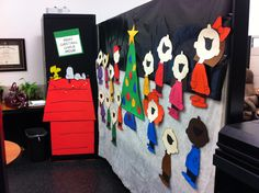 Charlie Brown Christmas cubicle mural Catherine Lewis drew for decorating contest