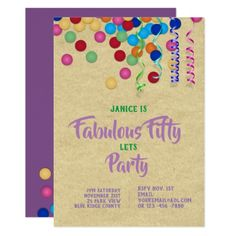 Modern Purple Green 50th 40th 30th Party Invites - birthday gifts party celebration custom gift ideas diy